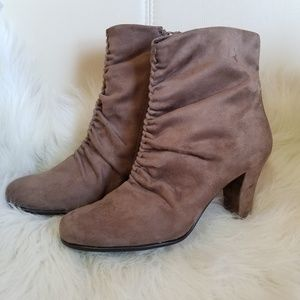 Aerosoles Taupe Ankle Booties, Ruched & Block Heel